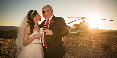 Valley of Fire Wedding via Helicopter
